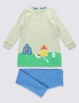 Хлопковый комплект для девочки 3 мес - 5 лет: платье-туника с цветной аппликацией и леггинсы от Marks & Spencer