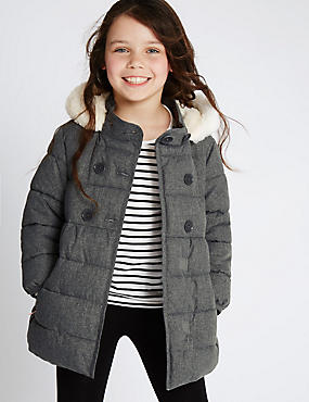 Faux Fur Padded Coat with Stormwear™ (1-7 Years), GREY, catlanding