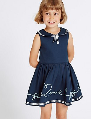 Pure Cotton Pique Dress (3 Months - 5 Years), NAVY, catlanding