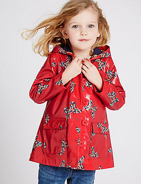 Printed Raincoat with Stormwear (3 Months - 5 Years), RED MIX, catlanding
