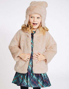 Faux Fur Coat with Hat (3 Months - 5 Years), CREAM, catlanding