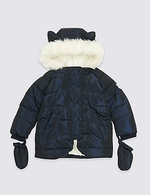 Faux Fur Padded Coat with Ears (3 Months - 7 Years), BLUE, catlanding