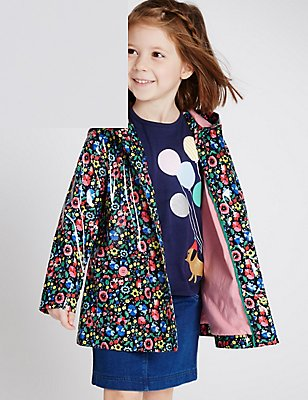 Floral Print Raincoat with Stormwear (3 Months - 5 Years), NAVY MIX, catlanding