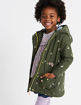 Embroidered Parka Coat (3 Months - 7 Years), KHAKI MIX, catlanding