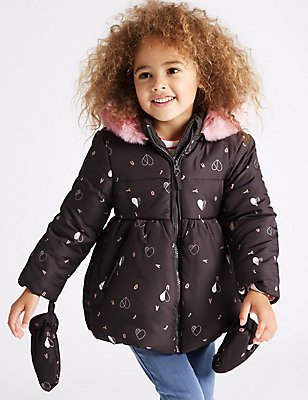 All Over Print Padded Coat with Stormwear™ (3 Months - 7 Years), CHARCOAL MIX, catlanding