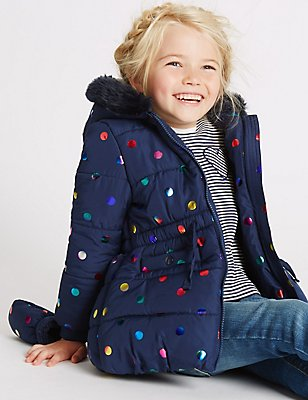 All Over Print Faux Fur Coat with Stormwear™ (3 Months - 7 Years), MULTI, catlanding