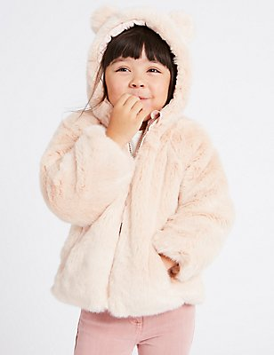 Reversible Faux Fur Coat (3 Months - 7 Years), MULTI, catlanding