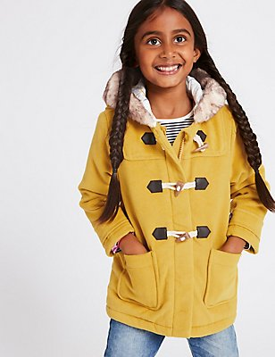 Faux Fur Zipped Through Duffle Coat (3 Months - 7 Years), OCHRE, catlanding