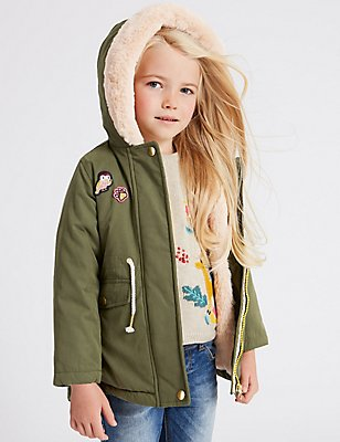 Cotton Blend Parka with Stormwear™ (3 Months - 7 Years), KHAKI, catlanding