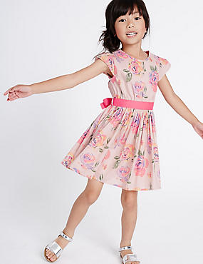 Pure Cotton Printed Dress with Belt (3 Months - 8 Years), PINK MIX, catlanding