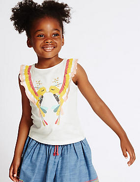 Pure Cotton Frill Top (3 Months - 5 Years), MULTI, catlanding