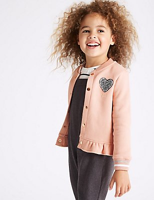 Cotton Rich Bomber Jacket (3 Months - 5 Years), LIGHT PINK, catlanding