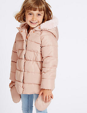 Faux Fur Padded Coat with Stormwear™ (3 Months - 7 Years), PINK, catlanding
