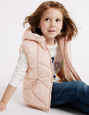 Printed Padded Gilet with Stormwear™ (3 Months - 7 Years), PINK MIX, catlanding