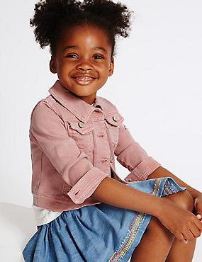 Veste en jean de coton extensible (du 3mois au 5ans), ROSÉ PÂLE, catlanding