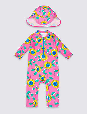 2 Piece Printed Swim Outfit with Lycra® Xtra Life™ (0-5 Years), PINK MIX, catlanding