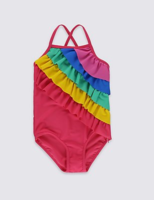 Rainbow Frill Swimsuit with Lycra® Xtra Life™ (0-5 Years), MULTI, catlanding