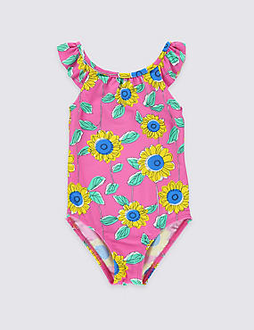Floral Print Swimsuit with Lycra® Xtra Life™ (0-5 Years), BLUE, catlanding