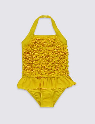 Flower Swimsuit with Lycra® Xtra Life™ (0-5 Years), YELLOW, catlanding