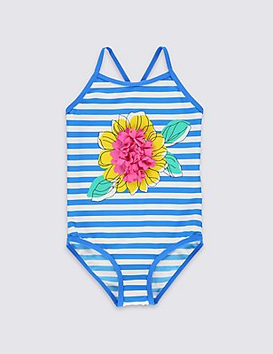 Flower Striped Swimsuit with Lycra® Xtra Life™(0-5 Years), BLUE MIX, catlanding