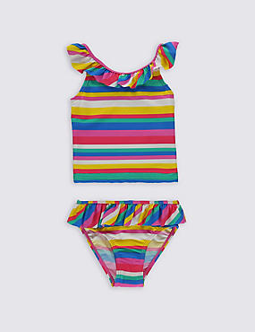 Striped Frill Tankini Set with Lycra® Xtra Life™ (0-5 Years), MULTI, catlanding