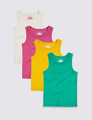 4 Pack Cotton Vest Top with Stretch (3 Months - 5 Years), BLUE MIX, catlanding