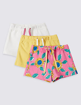 3 Pack Cotton Rich Shorts (3 Months - 5 Years), PINK, catlanding