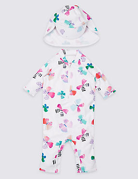2 Piece Butterfly Print Swim Outfit with Lycra® Xtra Life™ (0-5 Years), IVORY MIX, catlanding