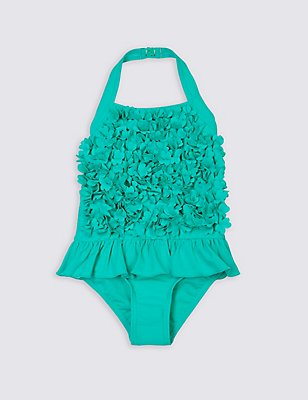Frill Flower Swimsuit with Lycra® Xtra Life™ (0-5 Years), AQUA, catlanding