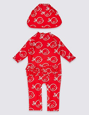 2 Piece Printed Swim Outfit with Lycra® Xtra Life™ (0-5 Years), RED MIX, catlanding