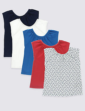5 Pack Pure Cotton Tops (3 Months - 5 Years), MULTI, catlanding