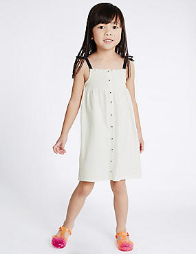 2 Pack Pure Cotton Dress (3 Months - 5 Years), WHITE MIX, catlanding