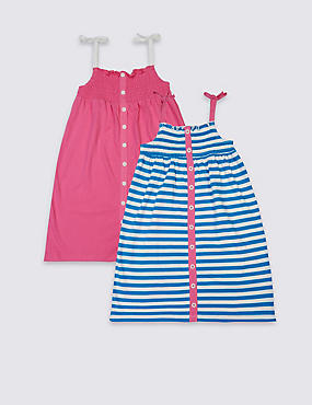 2 Pack Pure Cotton Dress (3 Months - 5 Years), BLUE MIX, catlanding