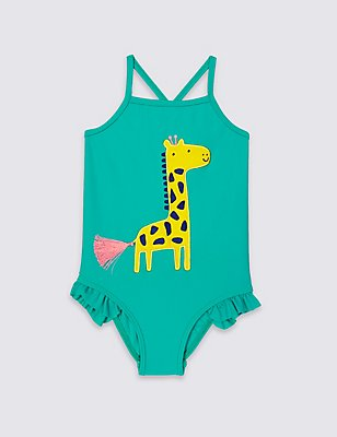 Giraffe Print Swimsuit (0-5 Years), GREEN MIX, catlanding