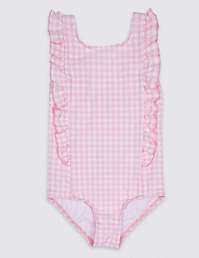 Checked Frill Swimsuit (3 Months - 7 Years), PINK MIX, catlanding