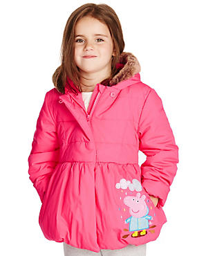 Pure Cotton Peppa Pig™ Thermal Hooded Coat with Stormwear™ (1-7 Years)