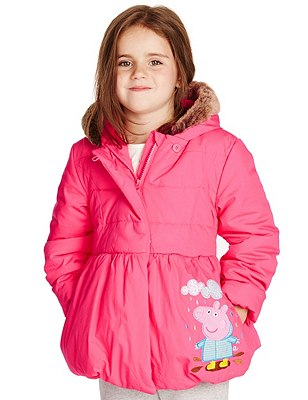 Pure Cotton Peppa Pig™ Thermal Hooded Coat with Stormwear™ (1-7 Years), PINK, catlanding