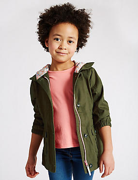 Pure Cotton Swing Hooded Coat with Stormwear™ (1-7 Years)