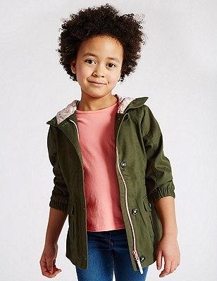 Pure Cotton Swing Hooded Coat with Stormwear™ (1-7 Years), KHAKI, catlanding