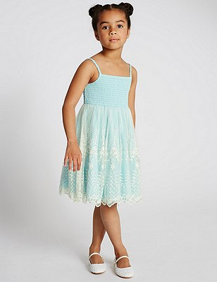 Paisley Lace Dress (1-7 Years), AQUA, catlanding
