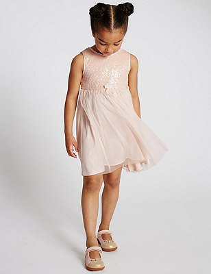 Sequin Embellished Dress (1-7 Years), BLUSH, catlanding
