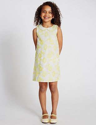 Peter Pan Collar Floral Embroidered Dress (1-7 Years), YELLOW, catlanding
