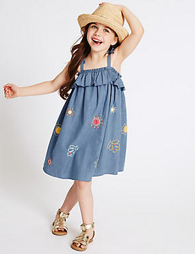Embroidered Denim Frill Dress (3 Months – 5 Years), DENIM MIX, catlanding