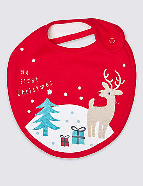 My First Christmas Pure Cotton Applique Bib, RED, catlanding