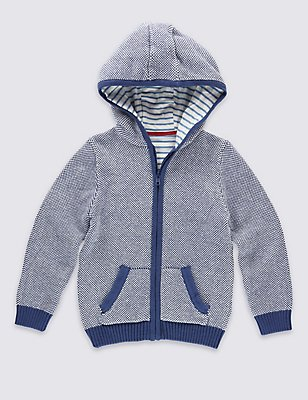 Pure Cotton Knitted Sweatshirt, BLUE MIX, catlanding