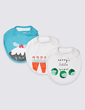 3 Pack Xmas Pure Cotton Assorted Bibs , MULTI, catlanding