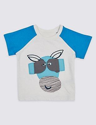 Pure Cotton Applique Baby T-Shirt, WINTER WHITE, catlanding
