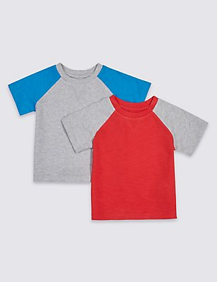 2 Pack Pure Cotton Raglan T-Shirts, RED MIX, catlanding