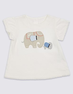 Pure Cotton Elephant Embellished Top, WINTER WHITE, catlanding