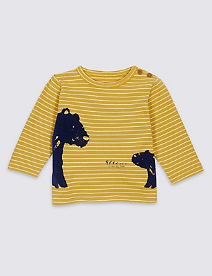 Pure Cotton Bear Print T-Shirt, MUSTARD, catlanding